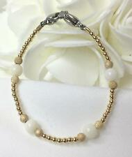 White & Gold Stardust Medical ID Alert Replacement Bracelet!  (MA081)