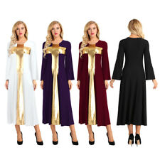 Women Dress Long Bell Sleeve Metallic Praise Cross Liturgical Dance Long Dresses