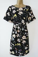 H&M MAMA BLACK FLORAL TEA DRESS SIZE L 16 MATERNITY