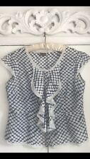 Phase Eight Silk Frill Blue Spot Blouse Top 16