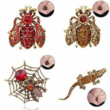 Women Rhinestone Crystal Pendant Necklace/Brooch Animal Sweater Chain Jewelry