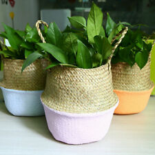 Seagrass Woven Basket Flower Plant Pot Holder Laundry Foldable Storage Organizer