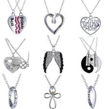 Stainless Steel Heart Family Couple Lovers Necklace Pendant Chain Jewelry Gift