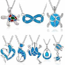 Women Blue Enamel Frog Tortoise Infinite 8 Pendant Necklace Chain Silver Plated
