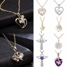Fashion Women Gold Silver Chain Necklace Heart Flower Crystal Pendant Charm Gift