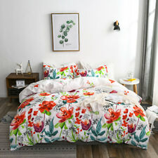 Grid Flower Printed Duver Cover Set Reversible Bedding PillowcaseTwin/Queen/King