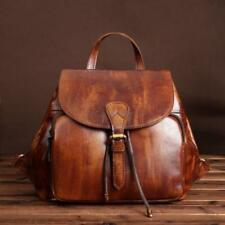Women's Vintage Genuine Real Cow Leather Backpack Travel Bag Handbag Brown Small