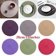 Fine Holiday Christmas Round Woven Table Pads Placemats PP Waterproof Cloth Mat