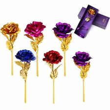 24k Gold Plated Golden Rose Flowers Mothers Valentine's Day Girlfriend Gift