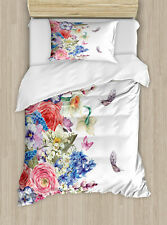 Ambesonne Flower Vintage Wreath with Daffodils Duvet Cover Set