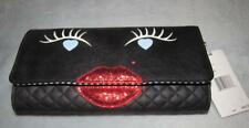 LUV BETSEY BETSEY JOHNSON Black KISSES Quilt Clutch Crossbody Face Purse- NWT