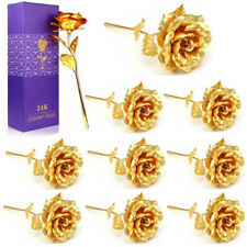 Lot10 24K Gold Plated Rose Flower Mother's Day Birthday Romantic Gift + Box