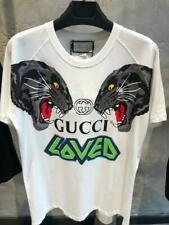 NEW GUCCI MEN`S LOVED TIGER T-SHIRT WHITE COTTON 100%
