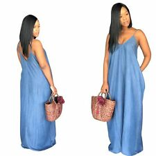Summer Women Sexy Spaghetti Strap V Neck Casual Loose Long Denim Dress Party
