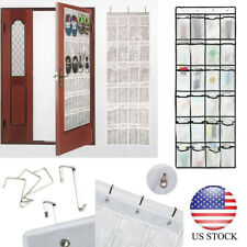 Hanging Shoe Organizer Crystal Clear Over The Door 24/15 Pockets Fabric Pockets