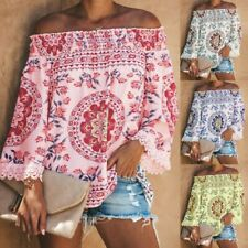 US Women Off The Shoulder Short Sleeve Tops Lace Trim Tassel Loose Shirt Blouses