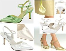 NEW Zeta Dyeable White Satin Pointed Toe Sandals, Criss-Cross Pleated Toe Box
