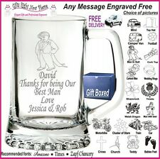 Personalised Glass Tankard Best Man - Usher Gift Boxed