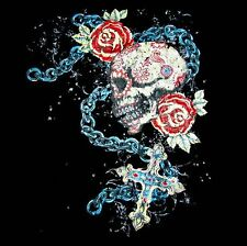 TATTOO SKULL ROSES CHAIN CROSS GOTHIC T-SHIRT WS213