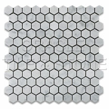"Carrara White Marble Honed 1"" Hexagon Mosaic Tile Mesh"