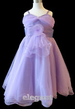 Purple V Wedding Bridesmaid Flower Girls Costume Prom Party Dress Gown Age 2-13