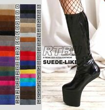Fetish Gothic Diva No Heel Knee/Thigh/Crotch Boot SUEDE