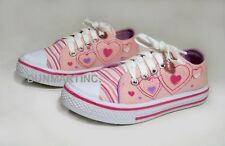 NEW GIRL'S PINK FASHION CANVAS SNEAKERS WITH HEARTS