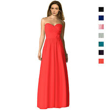 Strapless Full Length Chiffon Bridesmaids Dress Formal Evening Gown ed0763