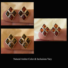 BALTIC HONEY, MULTICOLOR or GREEN AMBER & STERLING SILVER CLIP EARRINGS