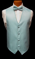 Mens Jean Yves Teal Stripe Fullback Vest & Matching Bow Tie Tuxedo Wedding Prom