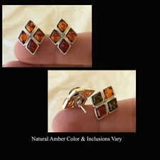 BALTIC MULTICOLOR or HONEY AMBER & STERLING SILVER STUD EARRINGS
