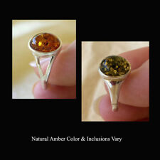 BALTIC GREEN or HONEY AMBER STERLING SILVER RING VARIOUS SIZES