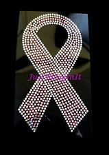 Breast Cancer Pink Ribbon 3 sizes Rhinestone Iron On Transfer Bling