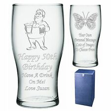 Engraved Pint Glass Personalised 40th 45th 50th 55th 60th Birthday Gift - IM1