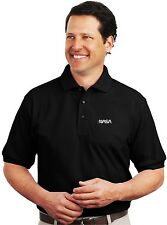 Nasa Worm Logo Embroidered Black Polo Sport Shirt S-5XL