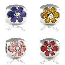 Flower Crystal Silver European Spacer Charm Bead For Bracelet Necklace