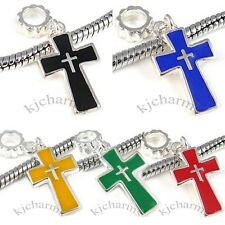 Cross Silver Dangle European Spacer Charm Bead For Bracelet Necklace