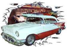 1956 Red Oldsmobile Hard Top Custom Hot Rod Diner T-Shirt 56, Muscle Car Tee's