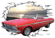 1963 Red Plymouth Fury Convertible Hot Rod Sun Set T-Shirt 63, Muscle Car Tee's
