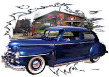 1948 Blue Plymouth Sedan Custom Hot Rod Garage T-Shirt 48, Muscle Car Tee's