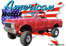 1972 Red Chevy 4X4 Pickup Truck Custom Hot Rod USA T-Shirt 72, Muscle Car Tee's