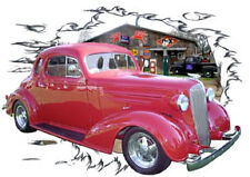 1936 Red Chevy Coupe 5 Window Custom Hot Rod Garage T-Shirt 36, Muscle Car Tee's