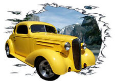 1936 Yellow Chevy Coupe Custom Hot Rod Mountain T-Shirt 36, Muscle Car Tee's