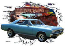 1967 Blue Chevy Chevelle SS Super Sport b Hot Rod Diner T-Shirt 67, Muscle Car T