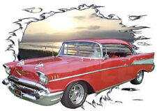 1957 Red Chevy Bel Air a Custom Hot Rod Sun Set T-Shirt 57, Muscle Car Tee's
