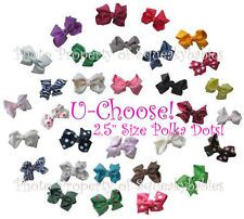 "U-Choose 2.5"" Pr of Bows 1-Prong Clip POLKA DOT COLORS Squeaky Shoes or Hair"