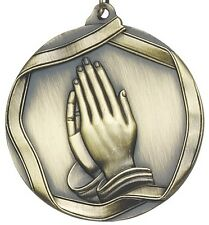 "2-1/4"" Praying Hands Prayer Medals w/Ribbon Any Qty Ships Flat rate $5.49 in USA"