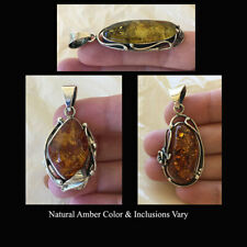 BALTIC HONEY or MULTICOLOR AMBER & SILVER LEAF or FLOWER HANDMADE PENDANT