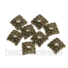 100pcs Retro Silver/Bronze Tone Rhombic Bead Caps Finding 8mm to chose