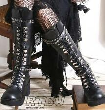 Gothic Punk Industrial Steampunk Metallic D Ring Grommet Strap Buckle  Heel Boot